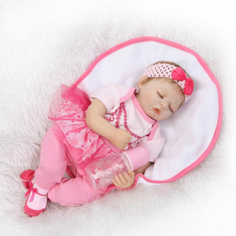 Фотография 50cm Handmade Alive Silicone Reborn Doll in Plush Cloth Lifelike Sleeping Girl Baby Toy with Magnitic Pacifier Kids Playmate