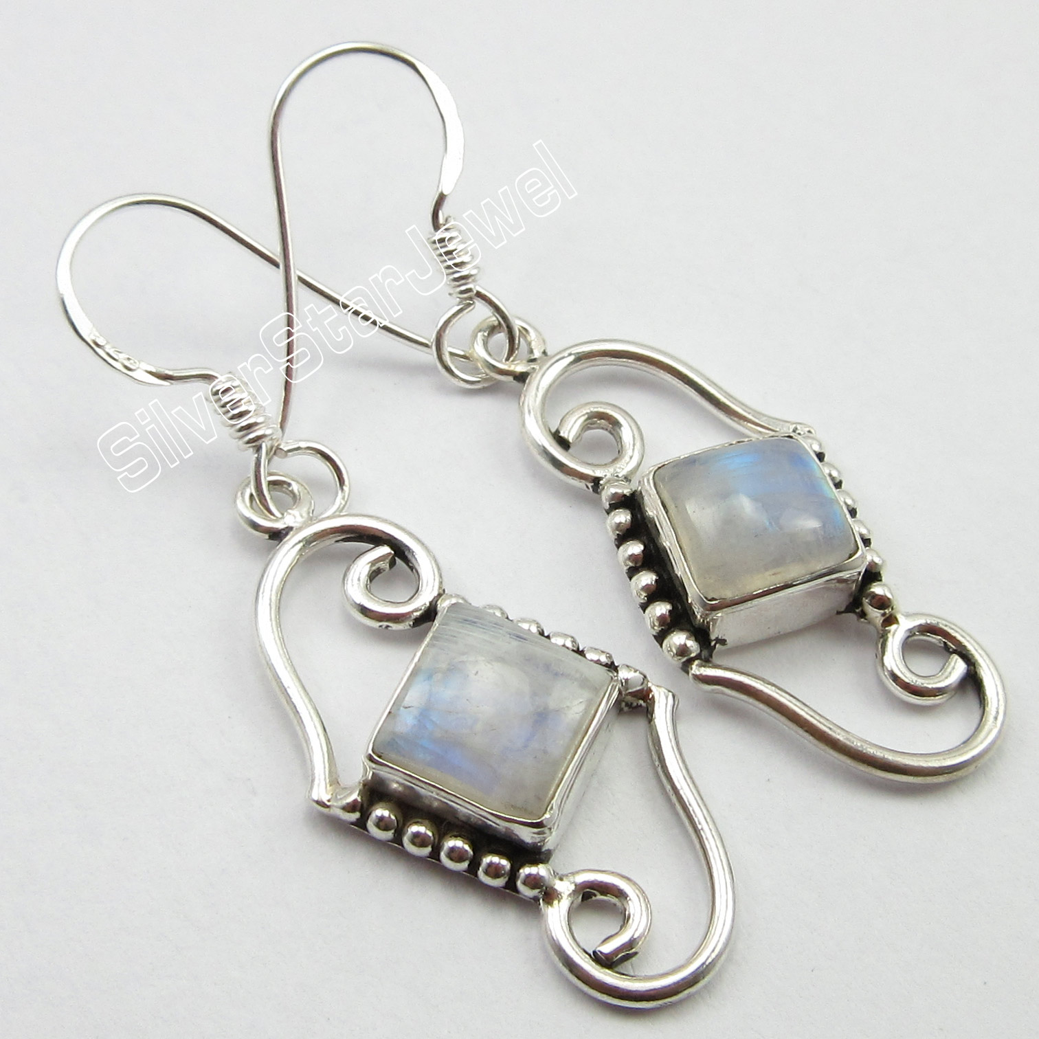 Chanti International WELL MADE Earrings, Solid Silver RAINBOW MOONSTONE Jewelry 4.2 CM 4.5 Grams