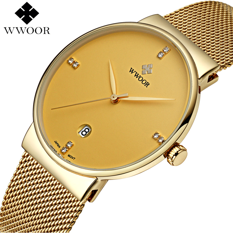 WWOOR Brand Men's Watches Ultra Thin Date Clock Male Waterproof Sports Quartz Men watch Gold Casual Wristwatch relogio masculino wwoor waterproof ultra thin date clock male stainess steel strap casual quartz watch men wrist sport watch 3 colors