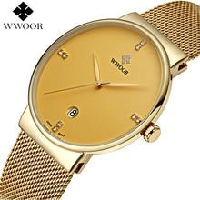 WWOOR Brand Men's Watches Ultra Thin Date Clock Male Waterproof Sports Quartz Men watch Gold Casual Wristwatch relogio masculino