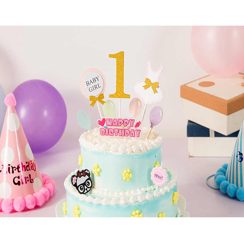 Huxiaomei 3Pcs Cake Topper Flag Baby Boy Girl 1 Year Old Age Happy Birthday