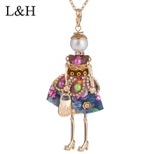 цена на Fashion Lovely Dressed Doll Necklaces&Pendants Female Crystal Beads Charm Long Chain Necklace DIY Handmade Jewelry For Women