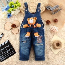 9M 24M Baby Girl Clothes Bebe Boy Overalls Bear Long Pants Cartoon Kwaii Jumpsuit Denim Jeans