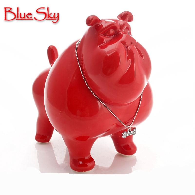 ceramic American Bulldog dog Piggy Bank home decor crafts room decorations ceramic kawaii ornament porcelain animal figurines