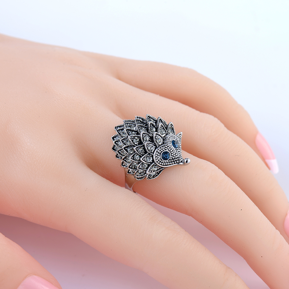 Vintage Punk Ring Unique Tallado Antique Silver Hedgehog Lucky Anillos para Mujeres Boho Beach European Wedding Party Birthday Jewelry