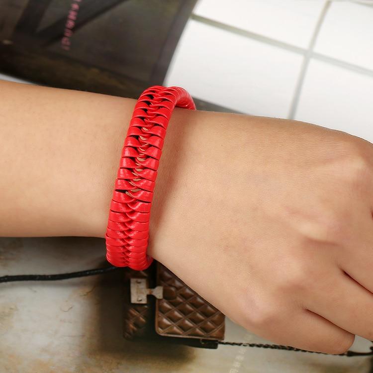 Women Jewelry Red Leather Bracelets for Women Bracelets Bijoux Femme Pulseras Mujer Braslet Ladies Cloth Accessories for Gifts
