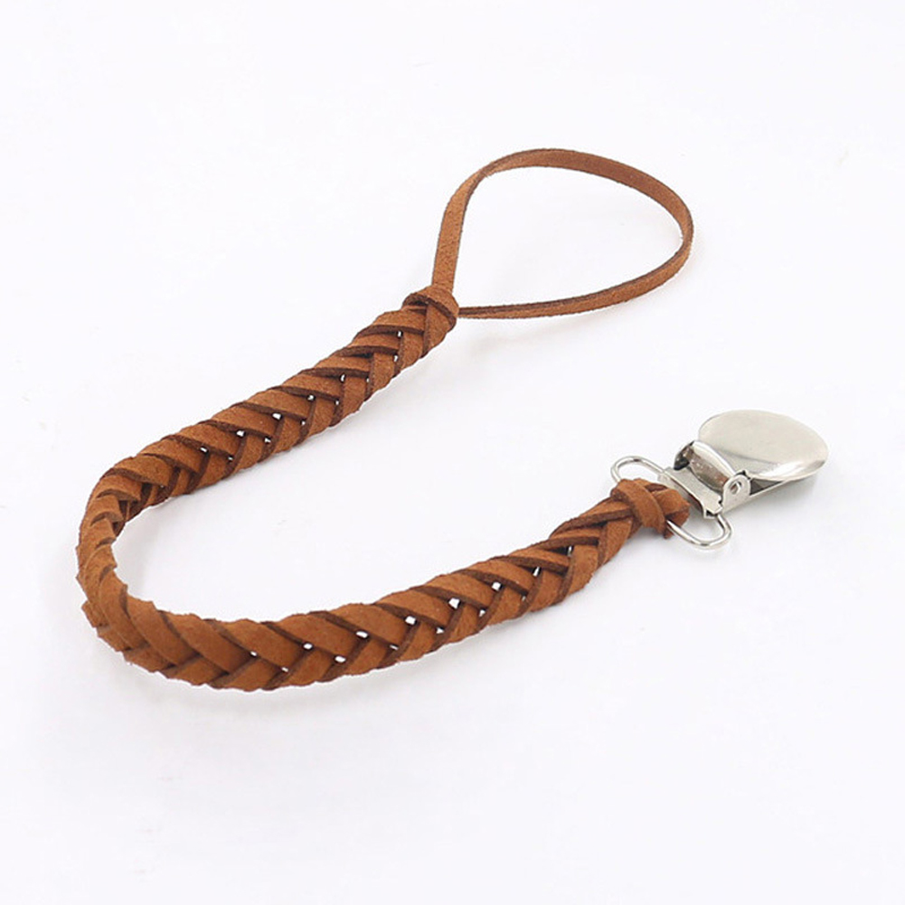 Soother Leather Braided Baby Feeding Holder Solid Long Infant Anti-lost Outdoor Home Dummy Clip Accessories Tool Pacifier Chain