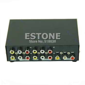 4 Port Input 1 Output Audio Video AV RCA Switch Switcher Selector Box New hifi lossless 1 input 4 output rca audio distributor ne5532 op amp signal selector tone volume gain adjustments for amplifier