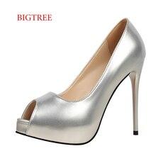 Zapatos Mujer Women Wedding Salto Alto Silver Stilettos Red Heels Female Sexy Footwear Women Extreme High Heels Bigtree Shoes