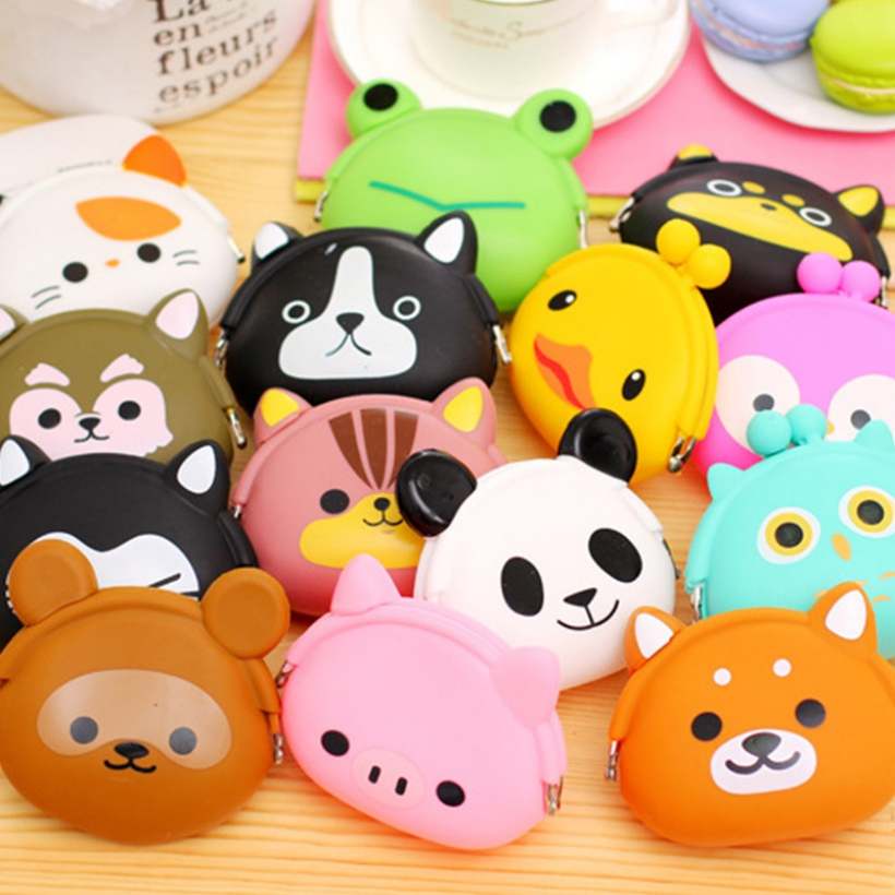 2018 New Girls Mini Silicone Coin Purse Animals Small Change Wallet Purse Women Key Wallet Coin Bag For Children Kids Gifts # C