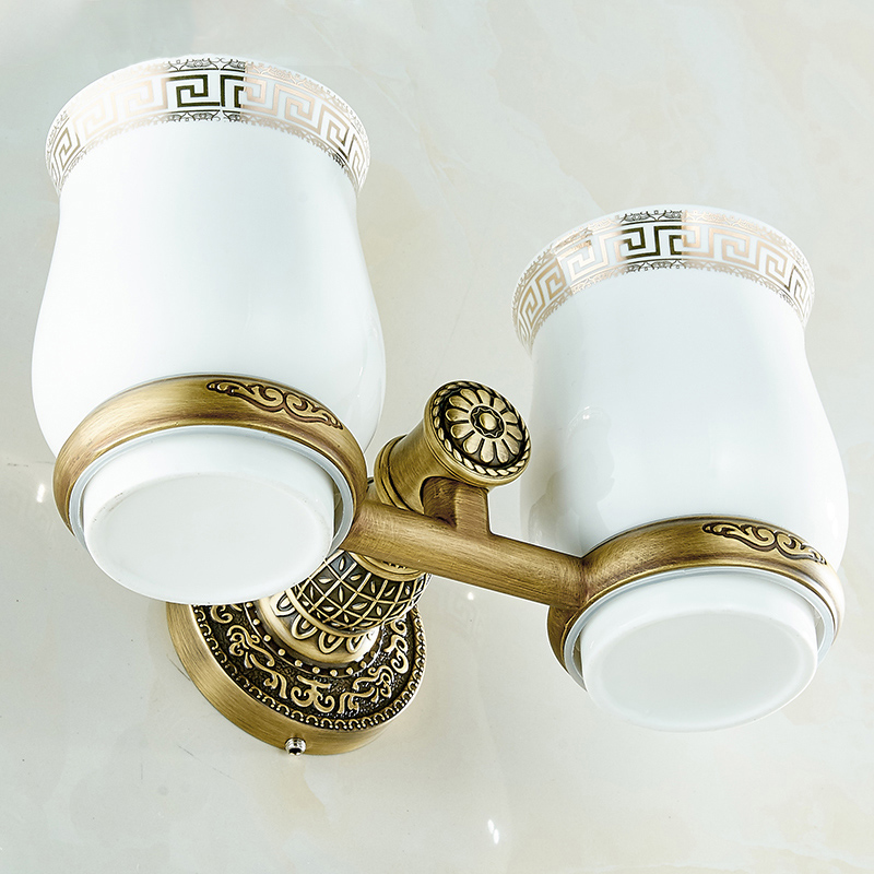 New Bathroom Antique Double Tumbler Cup Holder Toothbrush Holder Bathroom Accessory Sanitary Ware Bathroom Furniture SL-7808 new modern washroom toothbrush holder luxury european style tumbler