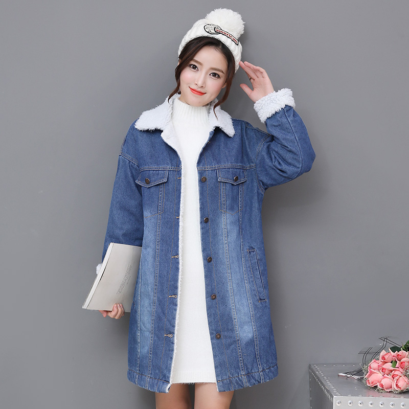 Autumn Winter Long Denim   Trench   Coat Loose Casual Open Stitch Long Sleeve Hooded Jeans Outerwear Female Dark Blue Windbreaker