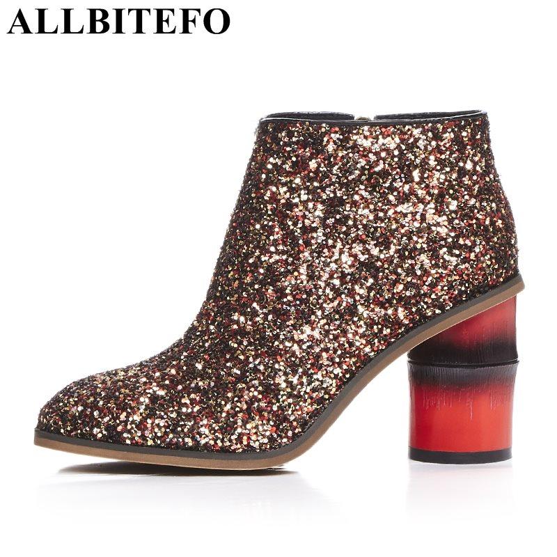 ALLBITEFO fashion brand Sequins square toe thick heel women boots medium heel high quality winter boots girls boots bota de neve selens pro 100x100mm 12nd square medium