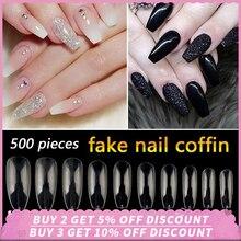 500pcs/Bag Ballerina Nail Art Tips Transparent/Natural Fake Nails Coffin Artificial Full Cover Manicure French False