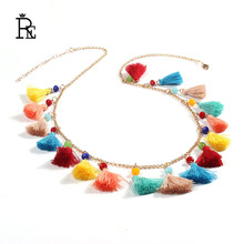 RE Bohemia handmade choker necklace bead fringe women gold chain pompon tassel necklace collier fashion jewelry gift bijoux Y31 black metal chain fringe choker necklace