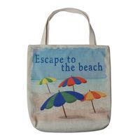 LINKWELL Burlap Hawaiian Coastal Seaside Escape To The Beach Here Sea Umbrella Reusable Tote Women Travel