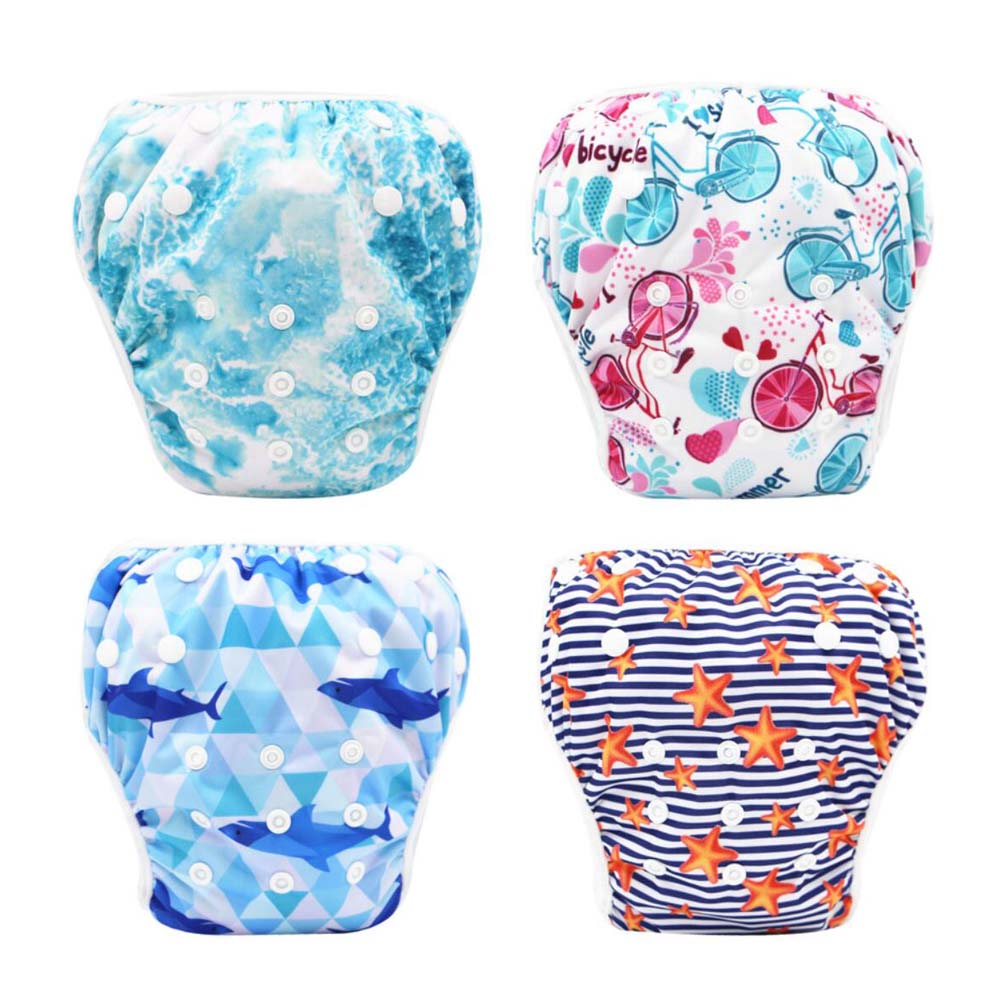 waterproof reusable one size adjustable swim diaper with rise snaps for baby swimming pool reusble summer diaper pant