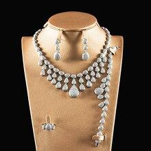 Блестящие Pave CZ 4 шт Ювелирные наборы для женщин свадебные Дубай циркония ожерелье комплект ювелирных изделий с серьги, браслет, кольцо