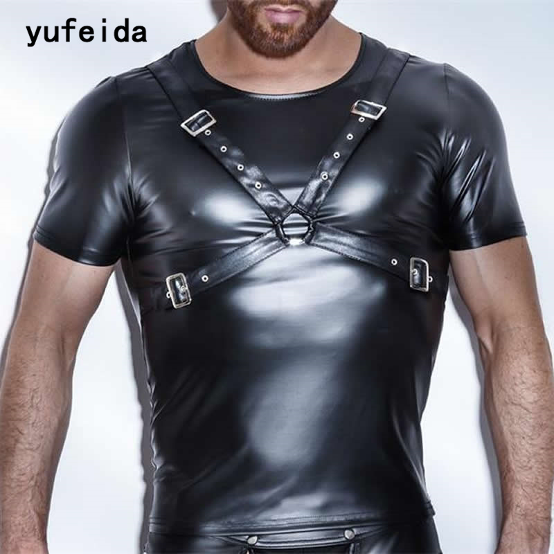 YUFEIDA Fashion Mens PU Leather T Shirts Sexy Fitness Faux Leather Black Undershirts Sexy Gay Wear Hip Hop Men Casual Clothes