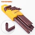 TOYOTERU 9 шт. торцевой ключ с защитой от взлома Torx l-образный ключ T10 T15 T20 T25 T27 T30 T40 T45 T50 длина длинной руки Тип