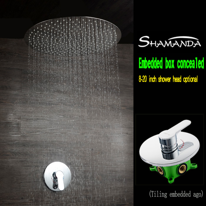 Real Free Shipping Chrome Concealed Round Embedded Box Mixer Valve Shower Set with Various Styles Ceiling Shower Head Shower Arm цена