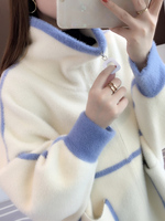 Hair 2020 autumn winter Han edition zip collar zipper color loose sleeve knitted cardigan sweater blouse