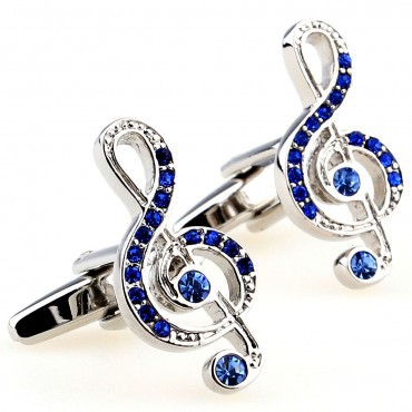 Blue Stone Music Note Cufflink Cuff Link 15 Pairs Wholesale Free Shipping