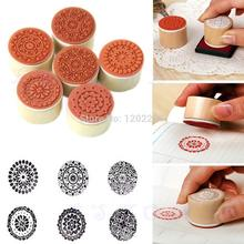 E74 Round Shape Wooden Assorted Vintage Floral Pattern Rubber Stamp Scrapbook 6pcs