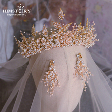 Himstory Heavy Handmade Tiaras Crown Crystal Pearl Wedding Hair Jewelry Bridal Ornaments  Headbands Accessories