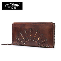 2017 New Retro Leisure Women Wallet Handmade Genuine Leather Ladies Clutch Wallet Rivet Design Cow Leather
