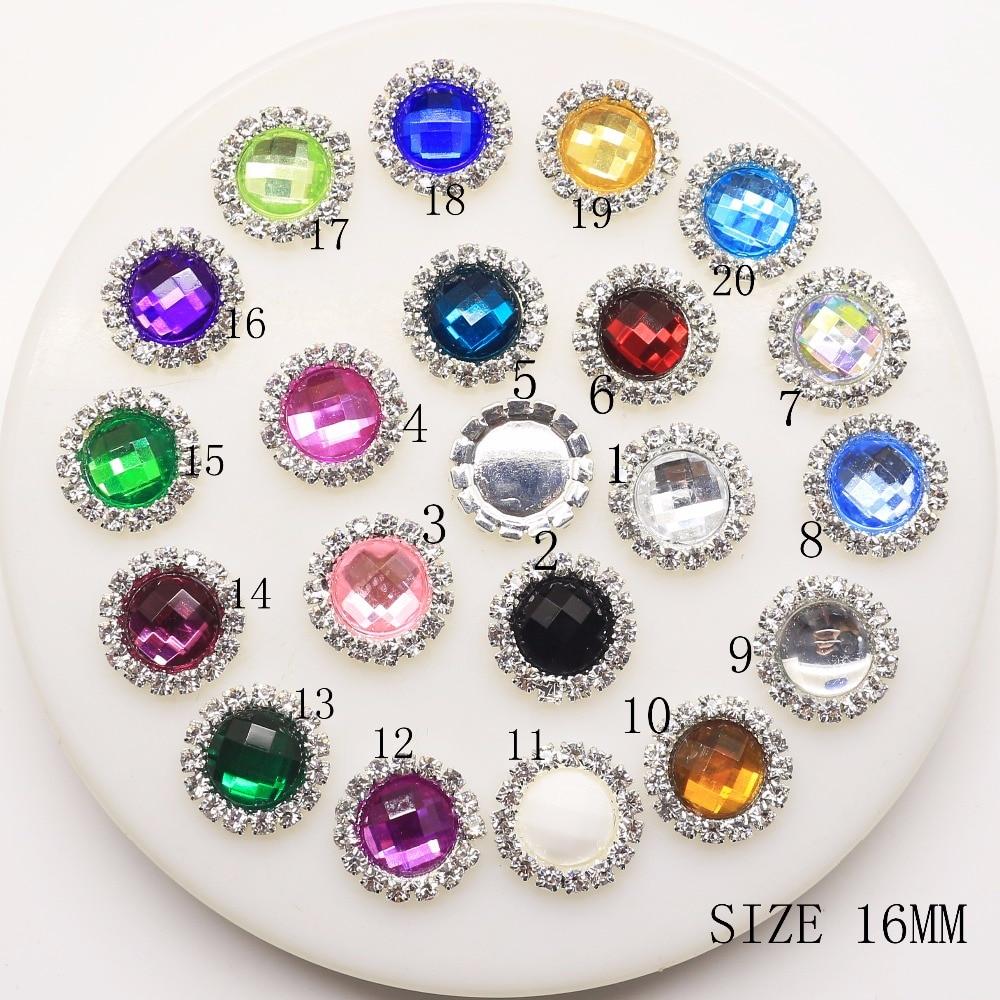 Новый 10 шт./компл. 16 мм красочные алмазов оснастки кнопку Flatback кнопки кристалл для Букеты Свадебные Детская лента для волос декоративные