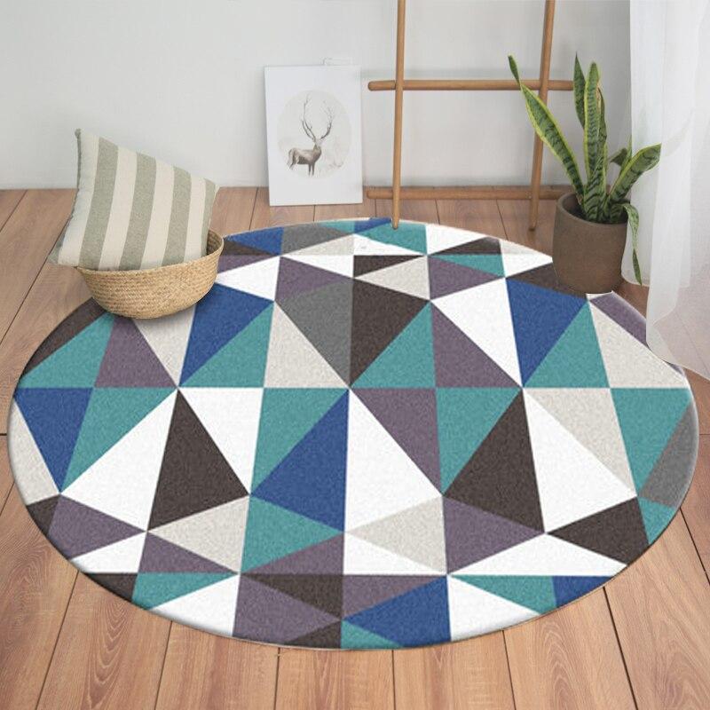 US $17.5 30% di SCONTO|LIU Americano moderno geometrico moda tappeto per  soggiorno tappeto circolare Nordic cestino da letto divano bambini sala ...