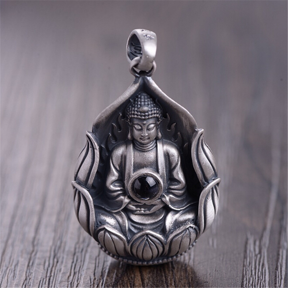 HFANCYW New Buddhist Six Words Lotus Guanyin Pure 999 Silver Pendant for Fashion Women Jewelry Wholesale