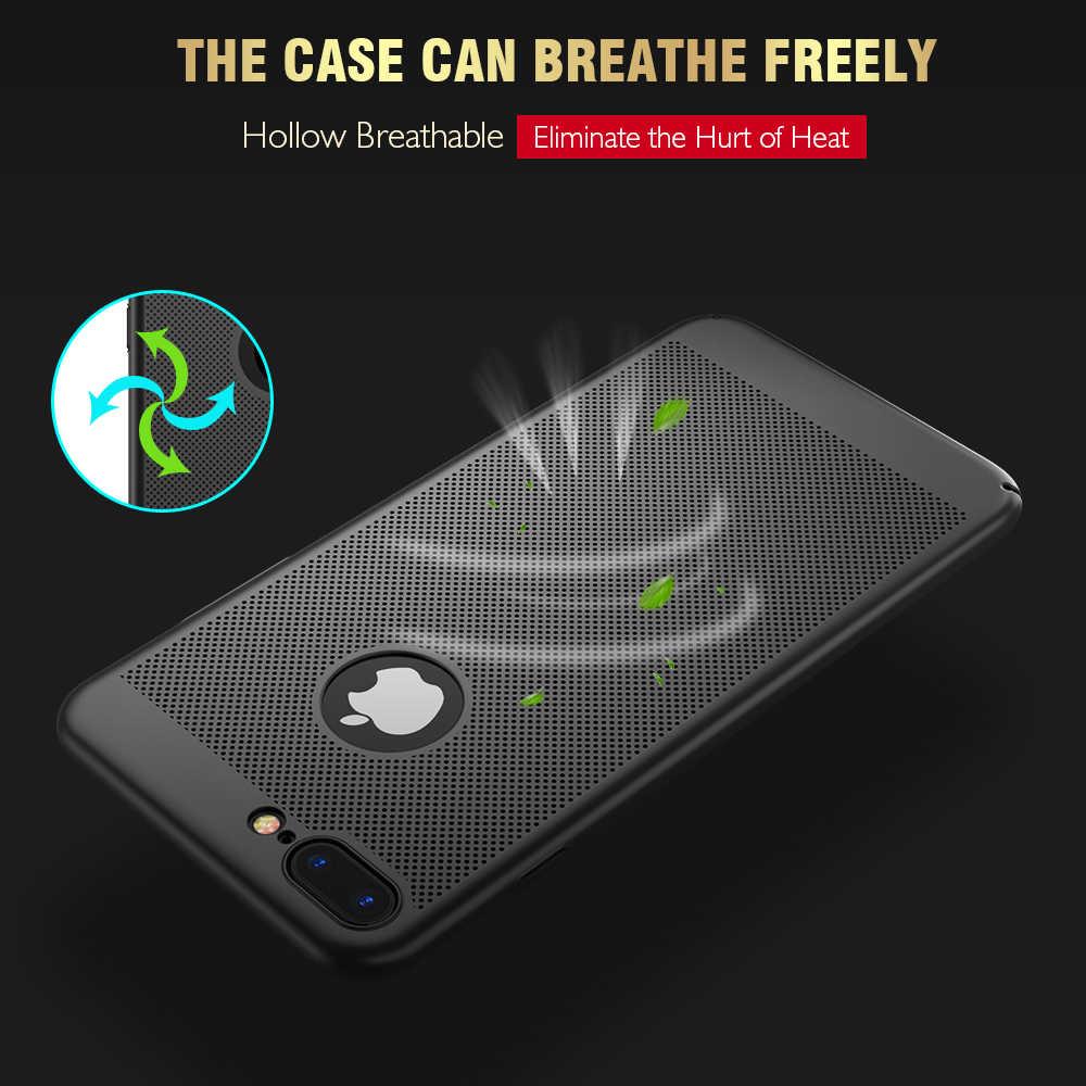 Ultra ince telefon iPhone için kılıf 6 6s 7 8 artı içi boş ısı dağılımı kılıfları sert PC iPhone 5 5S SE arka kapak Coque X S MAX