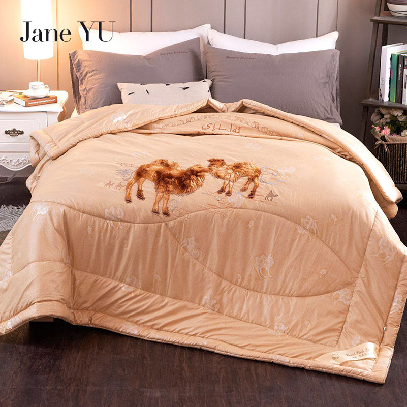 JaneYU 2018 thicken winter camel hair quilt luxury thicken stitching comforter duvet blanket king queen twin
