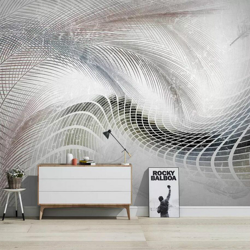 Modern feather abstract geometric lines Background Wall Wallpaper for Walls Living Room Home Improvement Non Wovens Wallpapers цена
