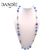 Dandie New Style Handmade  Blue Ceramic bead Long Necklace For Women, Statement