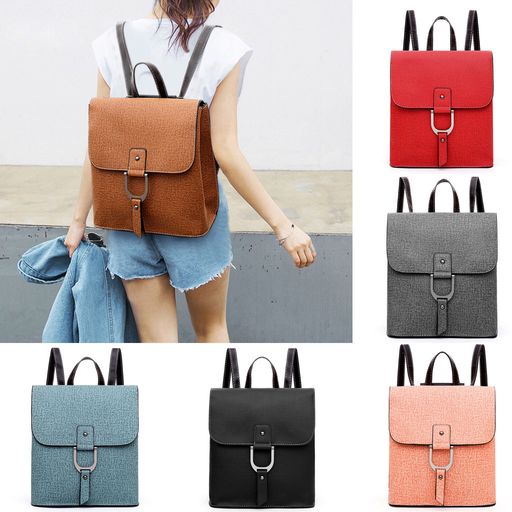 Bags For Women 2019 Fashion Neutral Solid Color Shoulder Bag Backpack Leather Pack Students School Travel Bag sac main femme#25(China)