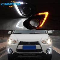 LED Daytime Running Light For Mitsubishi ASX RVR 2013 2014 2015 Waterproof 12V Yellow Turn Signal Indicator Light Bumper LED DRL