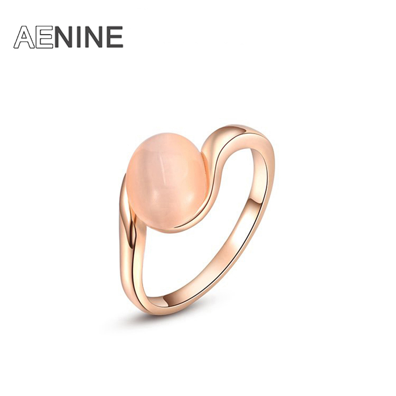 AENINE Classic Pink Opals Finger Ring For Women Pave Setting Rhinestone Crystal Wedding Rings Jewelry Anillo 2010433200