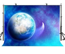 150x220cm Starry Sky Backdrop Beautiful Blue Earth and Photographic Background for Camera Photo Props