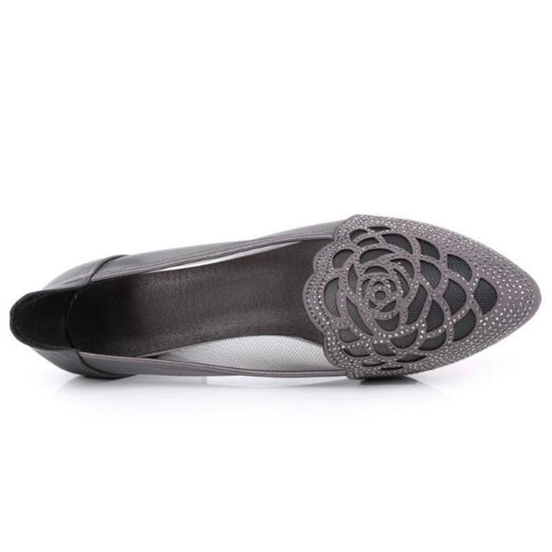 6dde4c40bfa037 Femmes Maille Talons Chaussures Noir D'été Strass Zxryxgs Cuir Pointu 2019  Peau Couche Vache Pour ...
