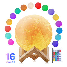 3D Print Moon Lamp 16 Colors Change Touch USB LED Night Light Home Decor Creative Gift Desk Table Lamps(China)