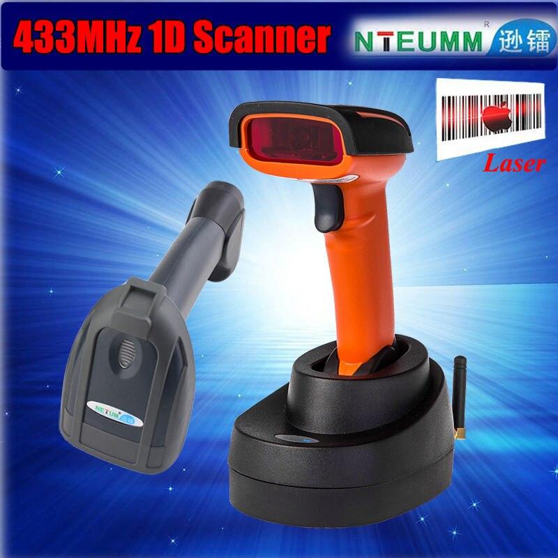 NETUM NT-2800 Portable Handheld 433MHz Wireless 1D Barcode Reader High Speed Wireless 1D Barcode Scanner W/Stand