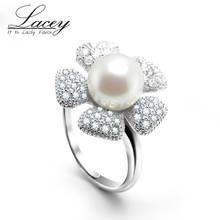 Freshwater big pearl ring for women silver 925 wedding lady adjustable girl engagement black top quality gift