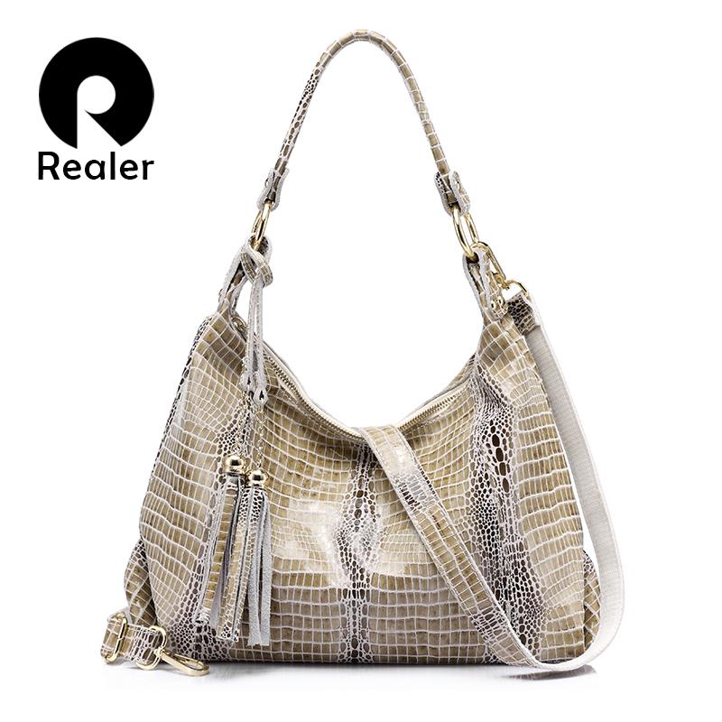 Prix pour Realer marque véritable cuir femmes grand épaule sac femelle crocodile motif hobos sac avec gland femmes sac à main