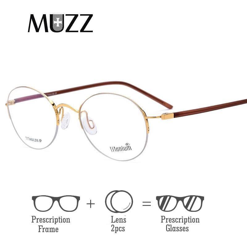 Ultraleicht Rahmen Myopie c5 C1 c4 Optische Semi Frauen Brille c3 Männer Titan c2 Reines randlose Halbe Brillen gtRwq
