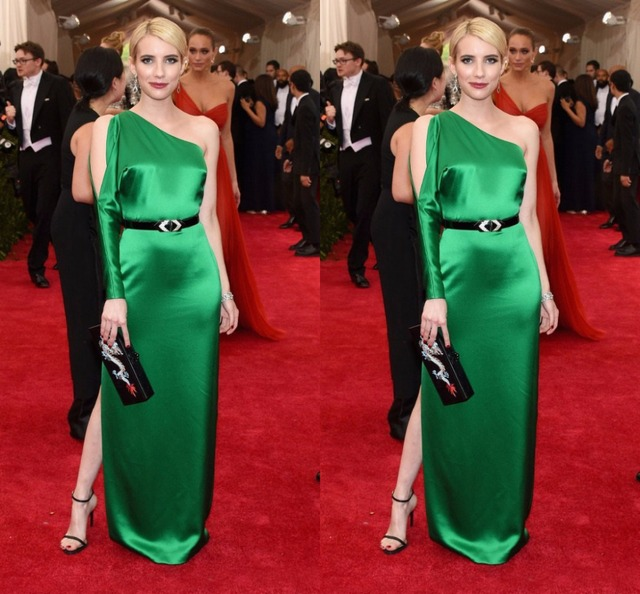Simple Emerald Green Emma Roberts Met Gala 2017 One Shoulder Celebrity Dresses Straight Elegant Red