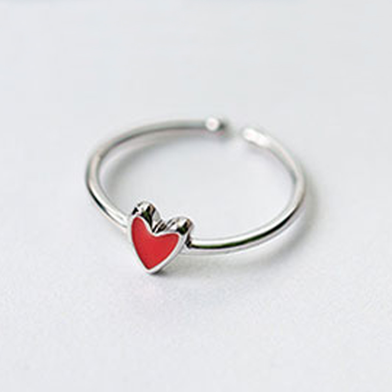 TOYOOSKY Pendatang Baru 925 Sterling Silver Rings Little Red Heart - Perhiasan fashion - Foto 4