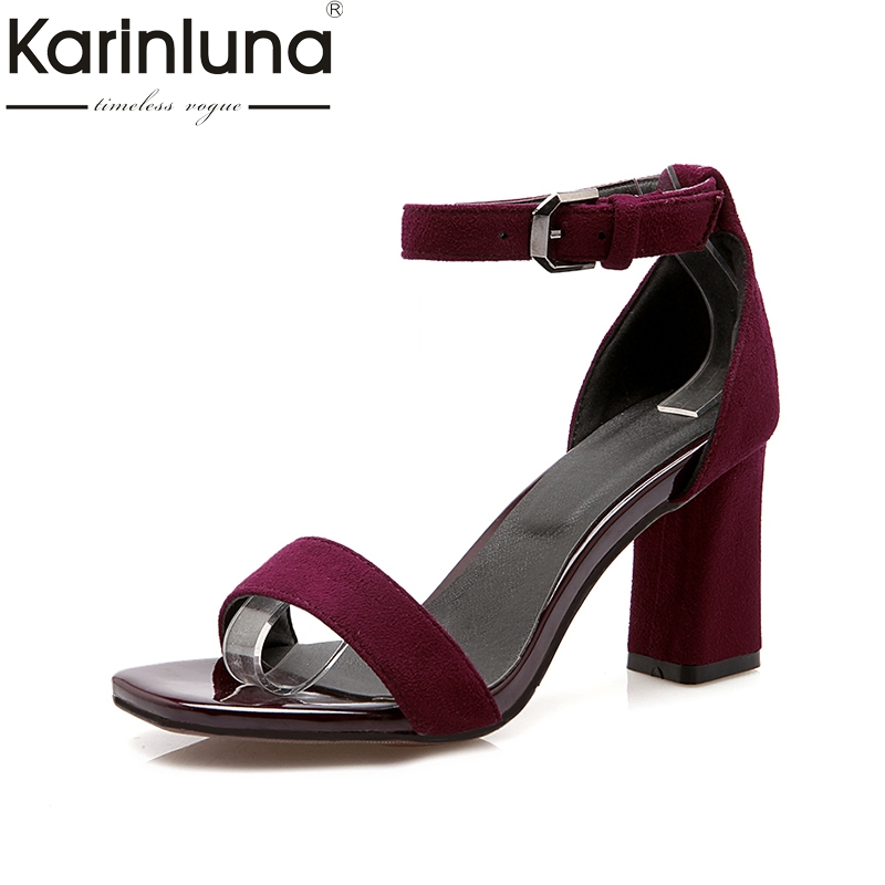 KarinLuna High Quality 2018 Size 34-39 Black Ankle Strap Women Shoes Woman Square high-heeled Platform Party Wedding Sandals euro size 34 44 pu woman 15 and 17cm high heels platform sandals nightclub woman high heeled birthday party shoes for t station